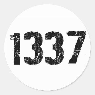 1337 pegatinas etiqueta redonda