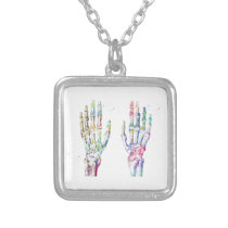 1365ea Hand Muscles,Watercolor Print,Skeletal Hand Silver Plated Necklace