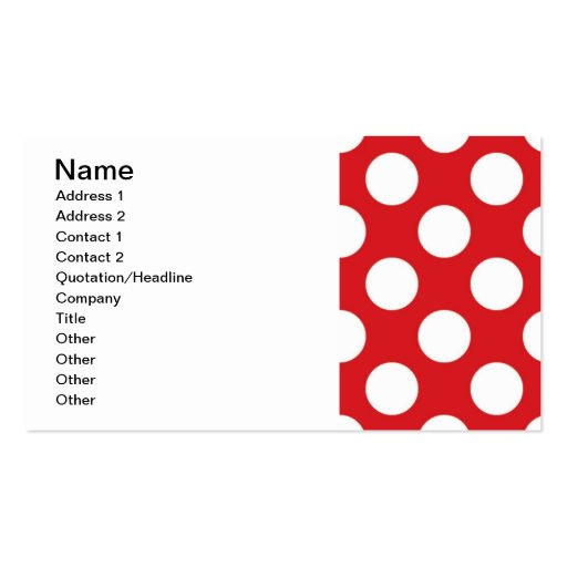 136 RED WHITE POLKA DOTS POLKADOT PATTERN BACKGROU BUSINESS CARD