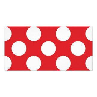 136 RED WHITE POLKA DOTS POLKADOT PATTERN BACKGROU CARD
