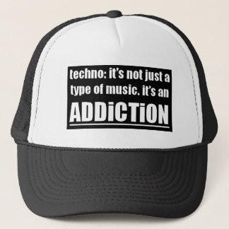 13770 techno type music addiction motto preference trucker hat