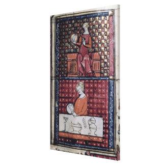 137-0011409/1 asentó a la mujer con una paloma y u impresiones en lienzo estiradas