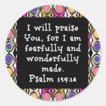 139:14 de los salmos pegatina redonda