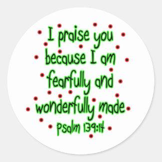139:14 del salmo etiquetas redondas