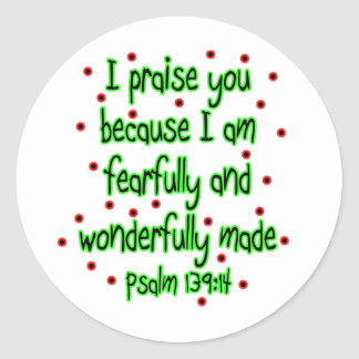 139:14 del salmo pegatina redonda