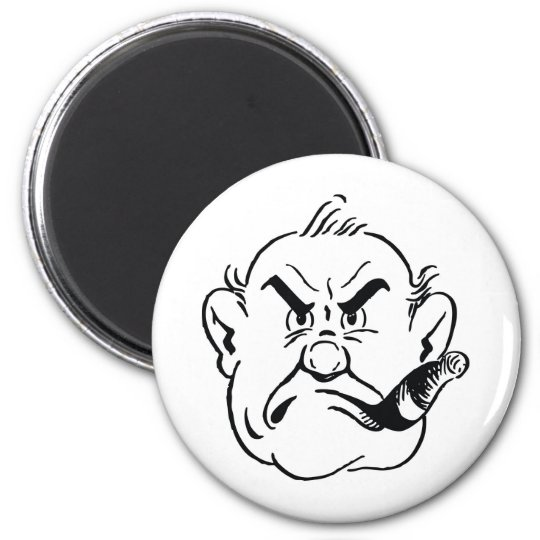 139-Grumpy-Man-Smoking-Cigar-Free-Retro-Clipart-Il Imán Redondo 5 Cm