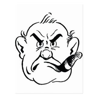 139-Grumpy-Man-Smoking-Cigar-Free-Retro-Clipart-Il Postcard