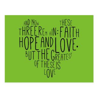 13:13 de los Corinthians del amor 1 de la Postal