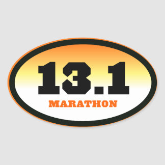 13.1 Half Marathon Black and Orange Oval Oval Sticker