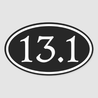 13.1 Half Marathon Black Oval Oval Sticker