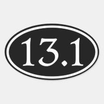 13.1 Half Marathon Black Oval Stickers