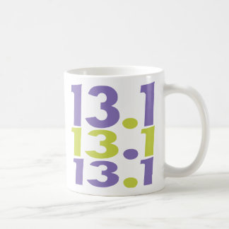 13.1 half marathon classic white coffee mug