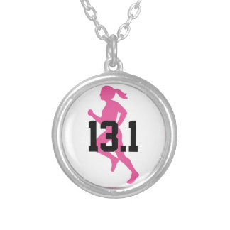 13.1 Half-Marathon Girl Silver Plated Necklace