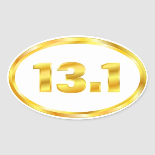 13.1 Half Marathon Gold Oval Oval Stickers