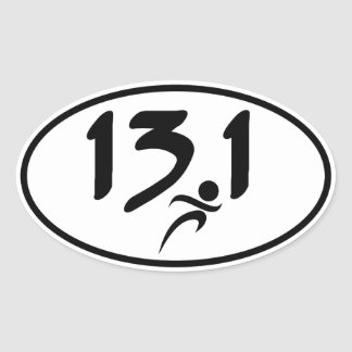 13.1 half-marathon oval sticker