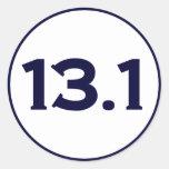 13.1 Half Marathon Round Stickers