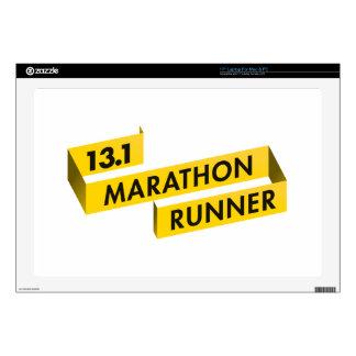 13.1 Half Marathon Runner Ribbon Yellow Laptop Skin