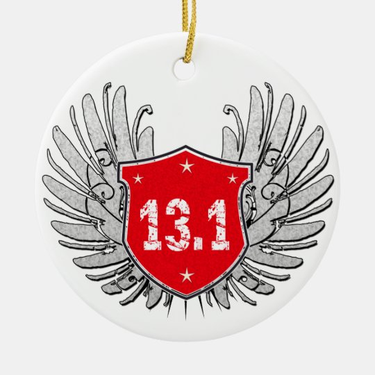 13.1 Half-Marathon Shield Ceramic Ornament