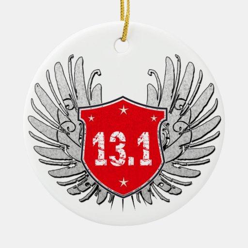 13.1 Half-Marathon Shield Double-Sided Ceramic Round Christmas Ornament