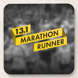 13.1 Marathon Runner Ribbon Yellow Beverage Coaster