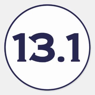 13,1 medio maratón etiqueta redonda