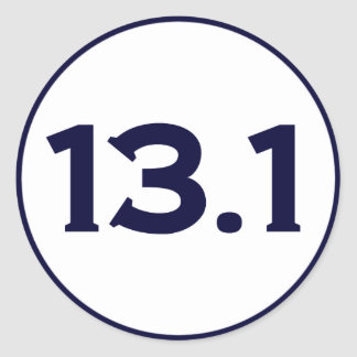 13,1 medio maratón pegatina redonda