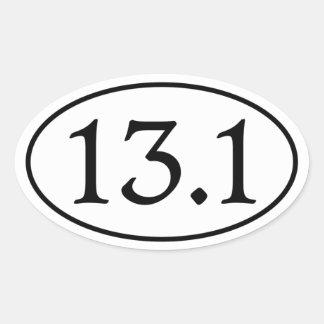13 1 medio óvalo del maratón calcomania ovaladas personalizadas