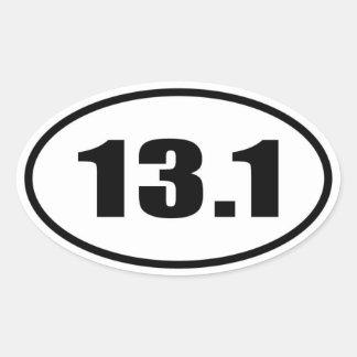 13 1 medio óvalo del maratón pegatina de ovaladas