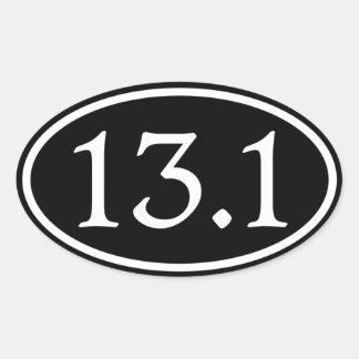 13,1 medio óvalo del negro del maratón pegatina ovalada
