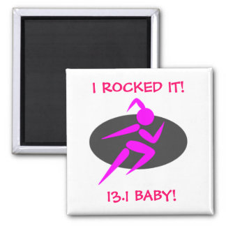 13.1 Running Girl 2 1/2 inch Square Magnet
