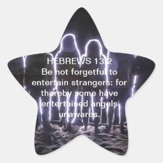 13:2 DE LOS HEBREOS QUE ENTRETIENE ÁNGELES PEGATINA EN FORMA DE ESTRELLA