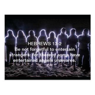 13:2 DE LOS HEBREOS QUE ENTRETIENE ÁNGELES TARJETAS POSTALES