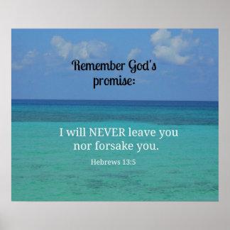 13:5 de los hebreos nunca le dejaré ni abandonaré… póster