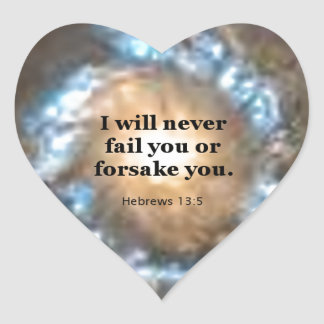 13:5 de los hebreos pegatina en forma de corazón