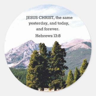 13:8 de los hebreos pegatina redonda