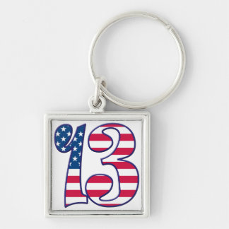 13 Age USA Silver-Colored Square Keychain