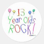 ¡13 años de la roca! pegatina redonda