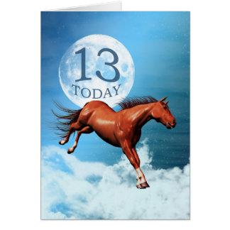 13 años de la tarjeta de cumpleaños con el caballo