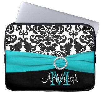 """13"""" Aqua Black White FAUX Ribbon Laptop Sleeve"""