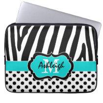 """13"""" Aqua Black Zebra Stripes Polka Dot Laptop Case"""
