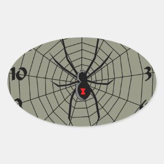 13 araña Clockface de trece horas Pegatina Ovalada