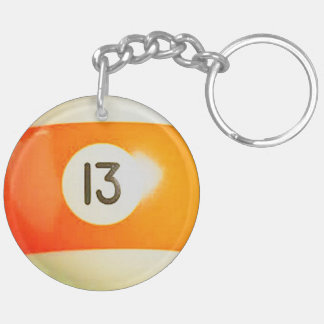 """13 Ball"" pool ball design gifts and products Keychain"