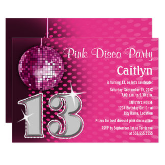 13 Birthday Disco Party Card