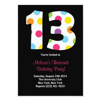 "13 Birthday Party Invitation 5"" X 7"" Invitation Card"