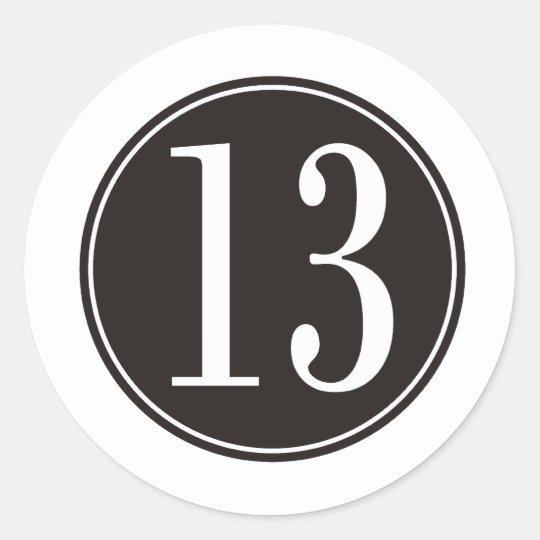 #13 Black Circle (front) Classic Round Sticker
