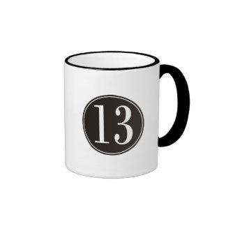 #13 Black Circle (front) Ringer Coffee Mug