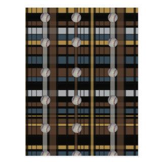 13 Brown Black Gray Plaid Baseball Design Post Card