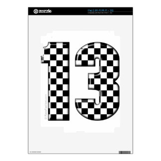 13 checkered auto racing number decals for the iPad 2