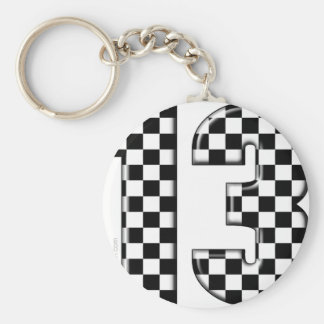 13 checkered auto racing number keychain