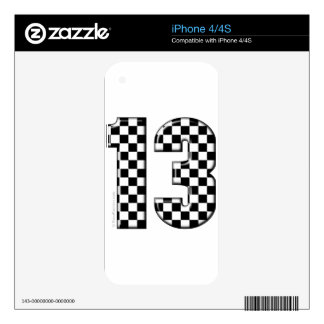 13 checkered auto racing number skin for the iPhone 4S